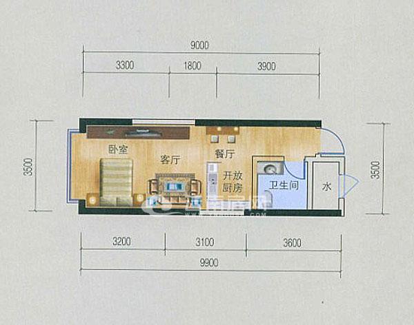 10约平米,同样为长方形通间户型设计.